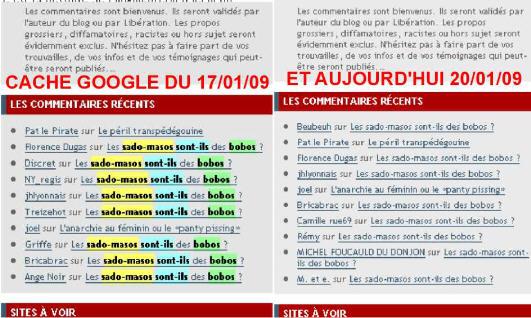 """Agnès Giard Commentaires validés puis supprimés de la note """"Les sados-masos sont-ils des bobos?"""" sur son blog Les 400 culs (comparaison cache Google et version définitive)."""