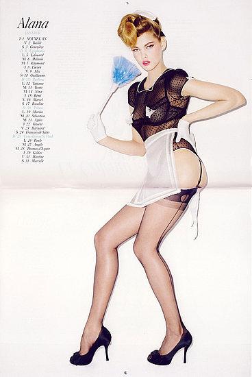 BDSM soubrette: Alana Kuznetsova la pin-up du mois de janvier dans le calendrier 2009 de Terry Richardson pour Vogue France.
