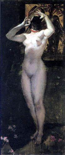"""Albert von Keller """"Nu au masque"""" 1887."""