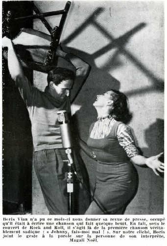 """BDSM Hommage à Boris Vian: L'auteur de """"L'Ecume des Jours""""et Magali Noël durant l'enregistrement de """"Fais-moi mal Johnny!"""" en 1956 AURORAWEBLOG."""