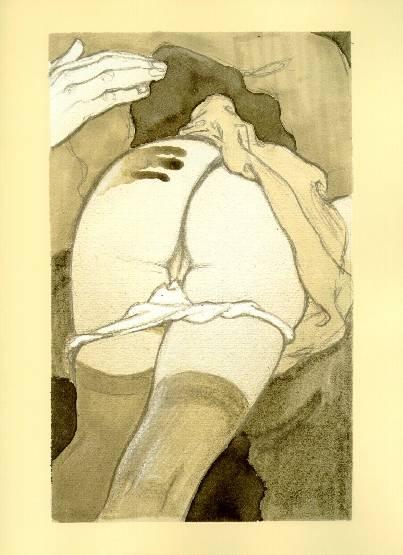 """BDSM fessée Dessin de Milo Manara pour """"L'Art de la Fessée"""" Editions Vents d'Ouest."""