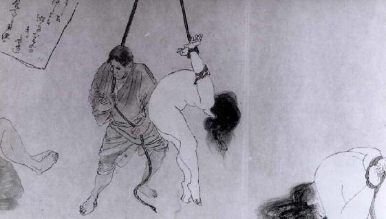 BDSM Kinbaku Suspension gravure d'Ito Seiu représentant sa première femme.