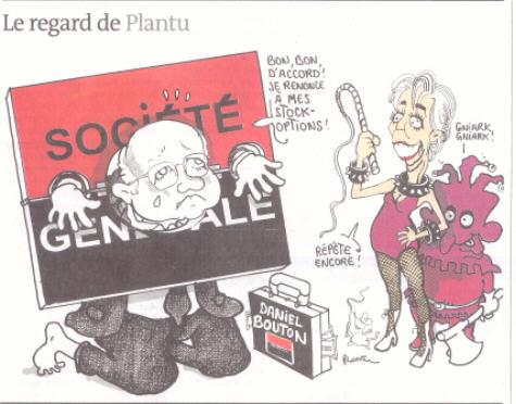 """BDSM Christine Lagarde en Domina Daniel Bouton en soumis caricature de Plantu à la Une du journal """"Le Monde"""" du 25 mars 2009 AURORAWEBLOG."""