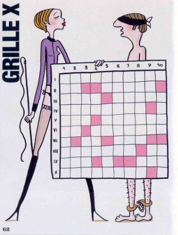 """BDSM Mots Croisés sadomasochistes """"Marie-Claire"""" No 684 d'août 2009, illustration de Michel Laurent."""