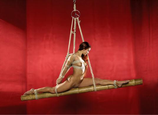 BDSM Shibari et Bambou photographie et suspension d'Hikari Kesho.