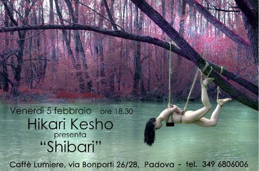 """BDSM """"Shibari"""" flyer de l'exposition d'Hikari Kesho à Padoue (Italie) du 5 au 27 février 2010."""