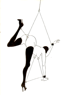 "BDSM Tomi Ungerer ""Femme Attachée"", Exposition Galerie Martel, Paris, octobre 2009."