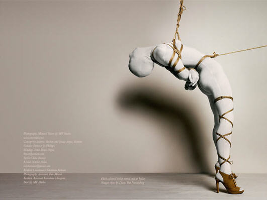 BDSM Zentai Bondage et Mode photographie de Manuel Vason cordes du shibariste anglais Esinem pour Cent Magazine 2009.