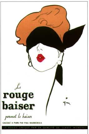 BDSM AURORAWEBLOG René Gruau femme au bandeau publicité Rouge Baiser 1949.