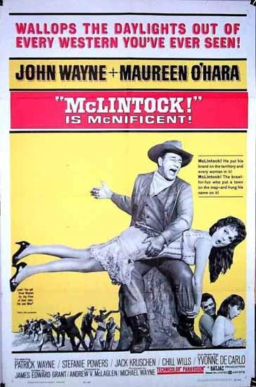 """BDSM Fessée la fameuse scène entre John Wayne et Maureen O'Hara dans le film """"Le Grand McLintock"""" affiche."""