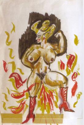 "Dessin original de Fellini ""Dompteuse en flammes""."