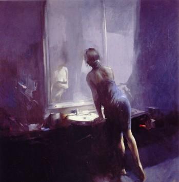 La femme au miroir tableau d'Antonio Tamburro.