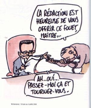 BDSM Humour Un fouet pour Sarkozy dessin de Gros pour Marianne numéro 584.