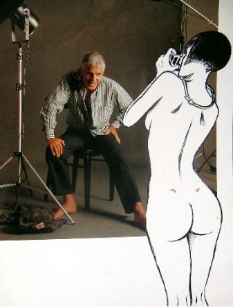 """Guido Crepax et Valentina photomontage de l'exposition """"Valentina, la forma del tempo"""" à la Triennale Bovisa de Milan 2008 2009."""