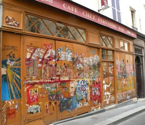 """Street Art: Le bar """"Chez Fernando, 6, rue de l'Arbalète, Paris, 5ème."""