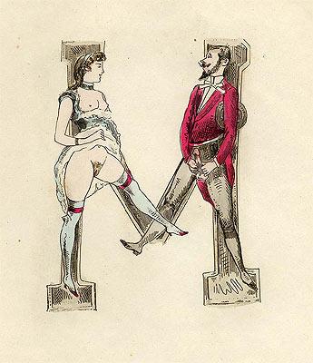 Erotica Curiosa La lettre M dans l'alphabet érotique de 1880.