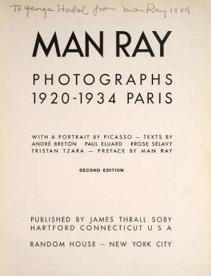Man Ray: Dédicace à George Hodel 1949.