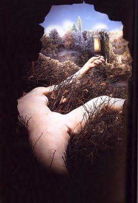 """Marcel Duchamp: """"Etant Donnés"""" (travail de 1946 à 1966). Seconde partie: La femme nue et """"L'éclairage""""."""