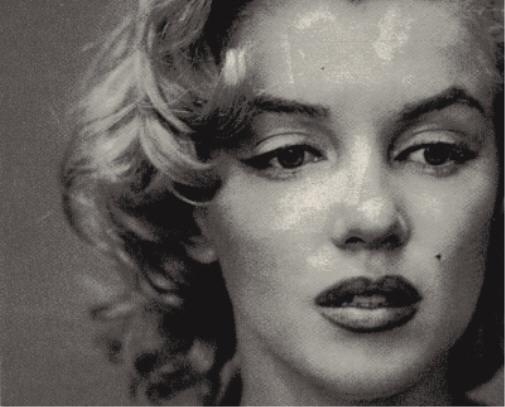 Marilyn Monroe photographiée par Richard Avedon le 6 mai 1957, détail du visage.