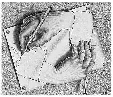 "Mauris Cornelis Escher ""Drawing hands""."