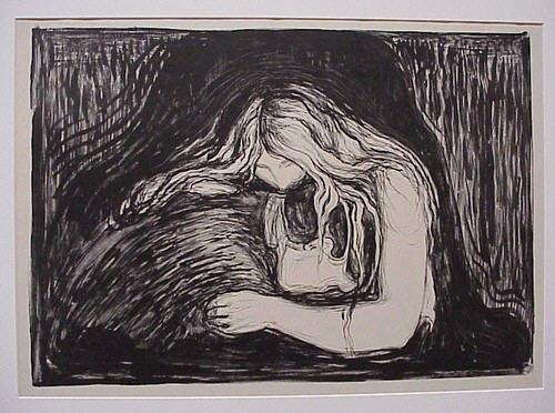 """Edvard Munch """"Vampire II"""" 1895, Collection Particulière, """"Edvard Munch ou l''Anti-Cri', exposition à la Pinacothèque de Paris 2010."""