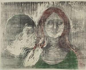 """Munch """"Baiser sur les cheveux"""" 1915, Collection Particulière, « Edvard Munch ou L' 'Anti-Cri' », une exposition du 19 février au 18 juillet 2010 à la Pinacothèque de Paris."""