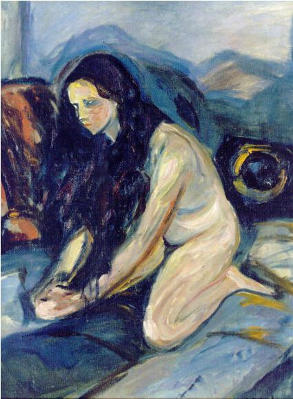 """Munch """"Nu Agenouillé"""" 1922, Collection Particulière, « Edvard Munch ou L' 'Anti-Cri' », une exposition du 19 février au 18 juillet 2010 à la Pinacothèque de Paris."""
