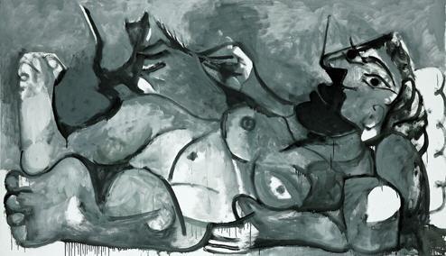 """Picasso """"Grand nu couché ou Femme avec un chat sur les pieds"""" 1964."""