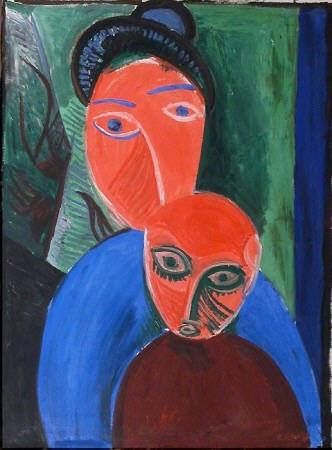 """Picasso Epoque Cubiste """"Mère et son fils""""."""
