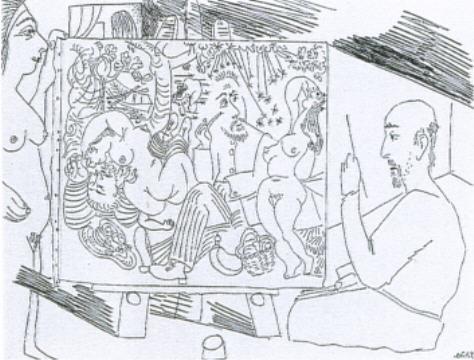 """Picasso """"Le Déjeuner sur l'Herbe"""" petite eau forte érotique de 1970."""
