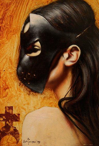"Saturno Butto ""Queen of P"" huile sur bois 2009."