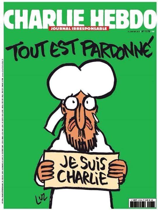 La Une de Luz pour Charlie Hebdo No 1178 du 14 janvier 2015. Tout est pardonné?