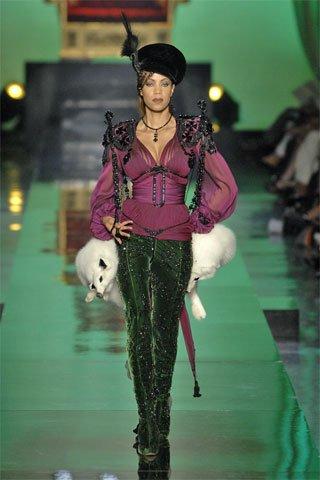Pantalon Cuir Noir Jean-Paul Gaultier Hiver 2008