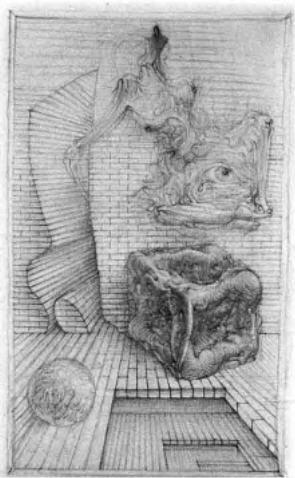 Hans Bellmer Croquis Bottines et oeil du voyeur fétichiste