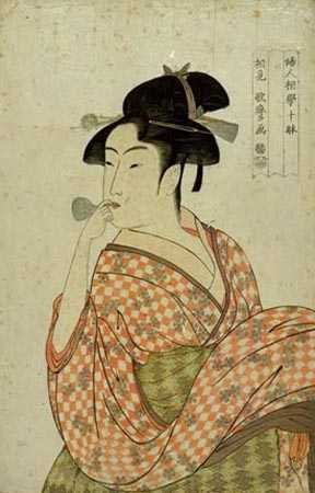 Geisha blowing pipe ukiyo-e