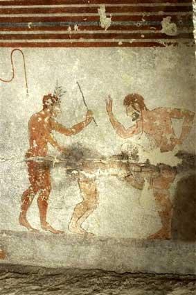 Erotisme étrusque scène sadomasochiste en trio à Tarquinia Tombe de la Nécropole Monterozzi