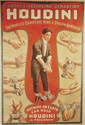 Houdini, hancuffs, magicien, affiche, AURORAWEBLOG