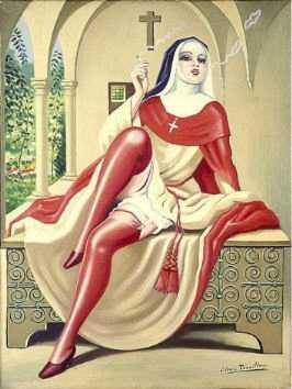 Clovis Trouille Tableau Anticlérical Erotique La Nonne